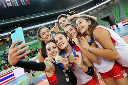 Players of Turkey celebrate at medal ceremony after the volleyball match between National team of Turkey and Slovenia in Gold Medal game of Womens U23 World Championship 2017, on September 17, 2017 in SRC Stozice, Ljubljana, Slovenia. Photo by Morgan Kristan / Sportida