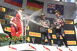 26.07.2015, Hungaroring, Budapest, HUN, FIA, Formel 1, Grand Prix von Ungarn, das Rennen, im Bild Sektdusche auf dem Podium<br /> Sebastian Vettel (Scuderia Ferrari)<br /> Daniel Ricciardo (Infiniti Red Bull Racing/Renault)<br /> Daniil Kwjat (Infiniti Red Bull Racing/Renault) // during the race of the Hungarian Formula One Grand Prix at the Hungaroring in Budapest, Hungary on 2015/07/26. EXPA Pictures &copy; 2015, PhotoCredit: EXPA/ Eibner-Pressefoto/ Bermel<br /> <br /> *****ATTENTION - OUT of GER*****