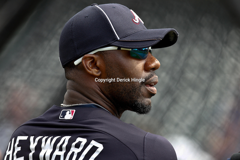 March 5, 2011; Lake Buena Vista, FL, USA; Atlanta Braves right fielder Jason Heyward (22) before a spring training exhibition game against the New York Mets at Disney Wide World of Sports complex.  Mandatory Credit: Derick E. Hingle