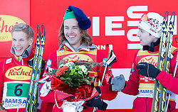 14.12.2013, Nordische Arena, Ramsau, AUT, FIS Nordische Kombination Weltcup, Langlauf Teamsprint, im Bild vl. Magnus Krog (NOR) und die Sieger Mikko Kokslien (NOR) und Joergen Graabak (NOR) // Magnus Krog (NOR) with the joking Winnerteam Mikko Kokslien (NOR) and Joergen Graabak (NOR)  during Team Sprint Cross Country of FIS Nordic Combined <br /> World Cup, at the Nordic Arena in Ramsau, Austria on 2013/12/14. EXPA Pictures © 2013, EXPA/ JFK