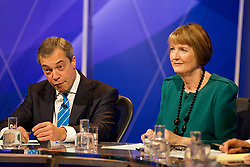 (LtoR) Nigel Farage and Harriet Harman MP during Question Time Corby By-Election, Question Time from Kingwood School, Corby, UK, November 15, 2012. Photo By Tim Scrivener / i-Images.
