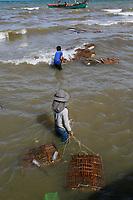 Kempot crab fishermen and women, Cambodia- crab market