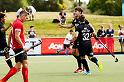 Dominic Newman of the Black Sticks scores at the final game of the Black Sticks v Canada Test Matches 21 October 2018. Copyright photo: Alisha Lovrich / www.photosport.nz
