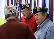 LEVITTOWN, PA -  DECEMBER 15:  From left, Jerry Polonsky, Col. Jules Hyman and Angelo DePalma chat during a holiday dinner for former homeless veterans hosted by the Jewish War Veterans of America - Bristol and partnered with the Levittown Disabled American Veterans - Post 117 December 15, 2013 in Levittown, Pennsylvania. (Photo by William Thomas Cain/Cain Images)