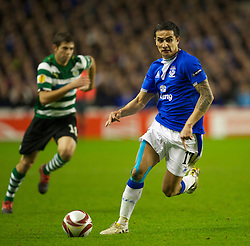 LIVERPOOL, ENGLAND - Tuesday, February 16, 2010: Everton's Tim Cahill in action against Sporting Clube de Portugal during the UEFA Europa League Round of 32 1st Leg match at Goodison Park. (Photo by: David Rawcliffe/Propaganda)
