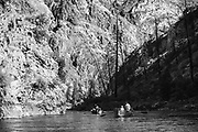Fly anglers drop into the lower canyon on the Middle Fork of the Salmon River in central Idaho.