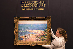 © Licensed to London News Pictures. 14/06/2018. LONDON, UK. ''La Méditerranée Par Vent De Mistral '' by Claude Monet, (Est. £6,500,000 - 8,500,000). Preview of Impressionist & Modern and Contemporary art sales, which will take place at Sotheby's New Bond Street on 19 and 26 June 2018 respectively.  Photo credit: Stephen Chung/LNP