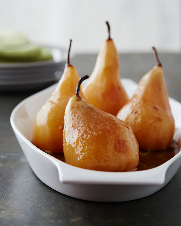 Wine Poached Pear with Butterscotch Sauce