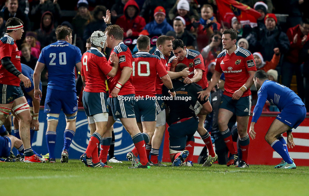 Guinness PRO12, Thomond Park, Limerick 26/12/2014<br /> Munster vs Leinster<br /> Munster's CJ Stander celebrates his try with Felix Jones and Andrew Conway <br /> Mandatory Credit &copy;INPHO/Dan Sheridan