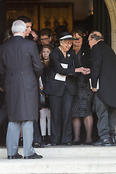 © Licensed to London News Pictures. 03/05/2016. LONDON, UK.  Family members leaving a service of Thanksgiving for the life and work of former Chancellor of the Exchequer, Rt Hon The Lord Geoffrey Howe of Aberavon CH PC QC at St Margaret's Church, Westminster Abbey.  Photo credit: Vickie Flores/LNP