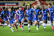 Gillingham's Ryan Jackson celebrates after scoring his teams 3rd goal during the Sky Bet League 1 match between Swindon Town and Gillingham at the County Ground, Swindon, England on 26 December 2015. Photo by Shane Healey.