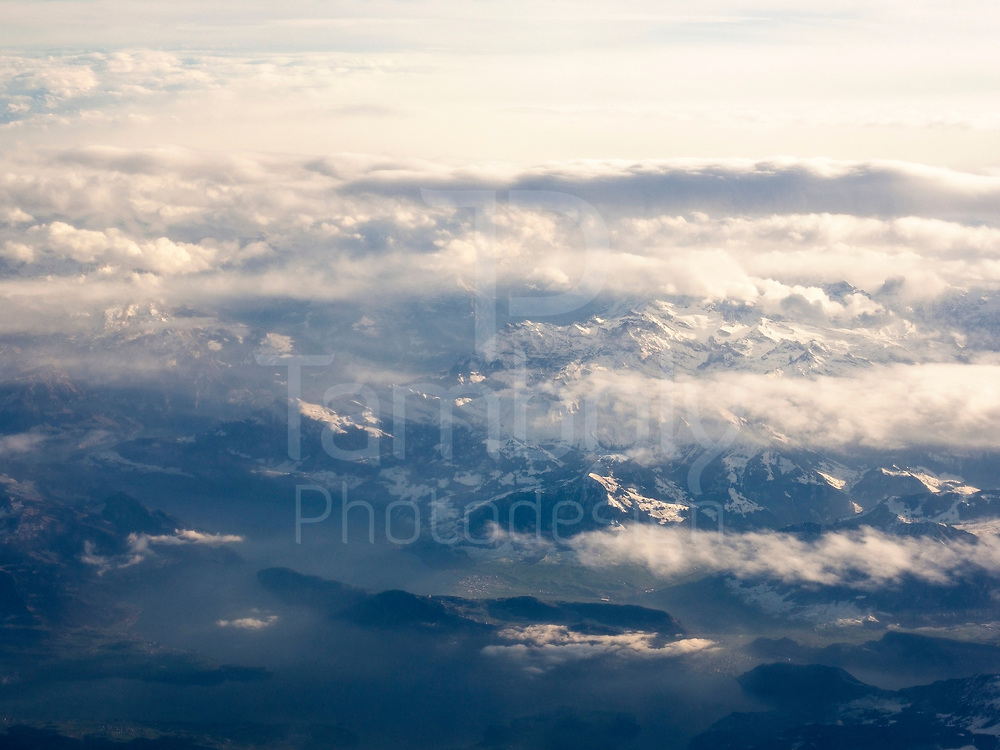 Aerial view of the Alps Mountains in Switzerland from Aeroplan