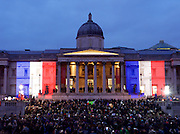 London landmarks pay tribute to victims of the terror attacks in France using several of London&rsquo;s major landmarks<br /> <br /> In a tribute that will coincide with rallies across France, iconic London landmarks including Tower Bridge and Trafalgar Square will display the colours of the French Tricolore national flag from 4pm on Sunday 11th  January 2015.<br /> <br /> &middot; The National Gallery &ndash; the French Tricolore will be projected onto the frontage of the building.<br /> &middot; Trafalgar Square fountains &ndash; will rotate the colours of the French Tricolore.<br /> <br /> Photograph by Elliott Franks <br /> Image licensed to Elliott Franks Photography Services