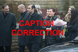 **CAPTION CORRECTION: Helina Kotlarova's father, Robert is not pictured as previously stated in earlier caption** © Licensed to London News Pictures . 16/01/2017 . Oldham , UK . Guests arrive at the funeral of cousins Helina Kotlarova and Zaneta Krokova at St Paul's Church in Oldham . The two girls , aged 12 and 11 respectively , were killed by a hit and run driver whilst crossing the road together , on New Years Eve (31st December 2016) . Photo credit: Joel Goodman/LNP
