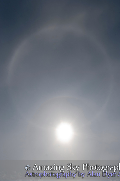 Solar Halo with 22° halo and parhelic circle. Sun at altitude of 58°. 10mm lens with Canon 20Da.