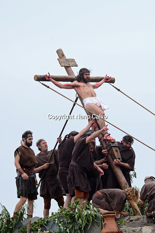 Representation of the Passion of Jesus Christ during Good Friday in Castro Urdiales, Spain.  <br /> <br /> The final hours of Jesus Christ are movingly depicted in the historic centre of Castro Urdiales, with scenes such as the Prayer in the Garden of Olives, the Arrest, the Trial, the Calvary and the Crucifixion. The origin of the event dates from 1984.
