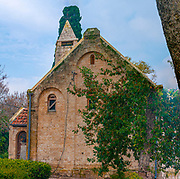 The unkempt Evangelical Church in Alonei Abba, Galilee, Israel was built in 1916 by the German citizens of Waldheim. Designed by Architect Otto Lutz and built according to strict architectural plans, it invokes important aesthetic values together with physical exactitude.