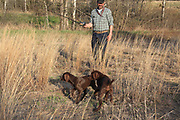 Trainer John Zeman uses training quail harnessed to a fishing line to train his GSPs.