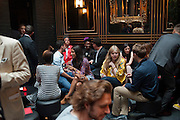 TRAMP TERRACE,  DSquared2 Launch of their Classic collection. Tramp. Jermyn St. London. 29 June 2011. <br /> <br />  , -DO NOT ARCHIVE-© Copyright Photograph by Dafydd Jones. 248 Clapham Rd. London SW9 0PZ. Tel 0207 820 0771. www.dafjones.com.