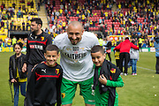 Watford Heurelho Gomes with his boys during the Sky Bet Championship match between Watford and Sheffield Wednesday at Vicarage Road, Watford, England on 2 May 2015. Photo by Phil Duncan.