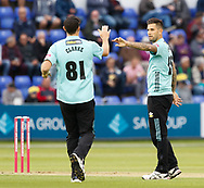 Surrey's Jade Dernbach celebrates taking the wicket of Glamorgan's Aneurin Donald<br /> <br /> Photographer Simon King/Replay Images<br /> <br /> Vitality Blast T20 - Round 14 - Glamorgan v Surrey - Friday 17th August 2018 - Sophia Gardens - Cardiff<br /> <br /> World Copyright &copy; Replay Images . All rights reserved. info@replayimages.co.uk - http://replayimages.co.uk