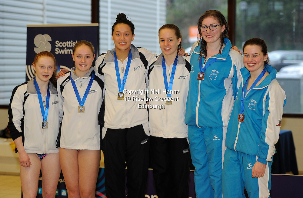 Scottish National Diving Championships & Thistle Trophy 2015<br /> <br /> Free to use <br /> <br /> Royal Commonwealth Pool, Edinburgh<br /> Men's Women's  3m Synchronised Final<br /> <br />  Neil Hanna Photography<br /> www.neilhannaphotography.co.uk<br /> 07702 246823