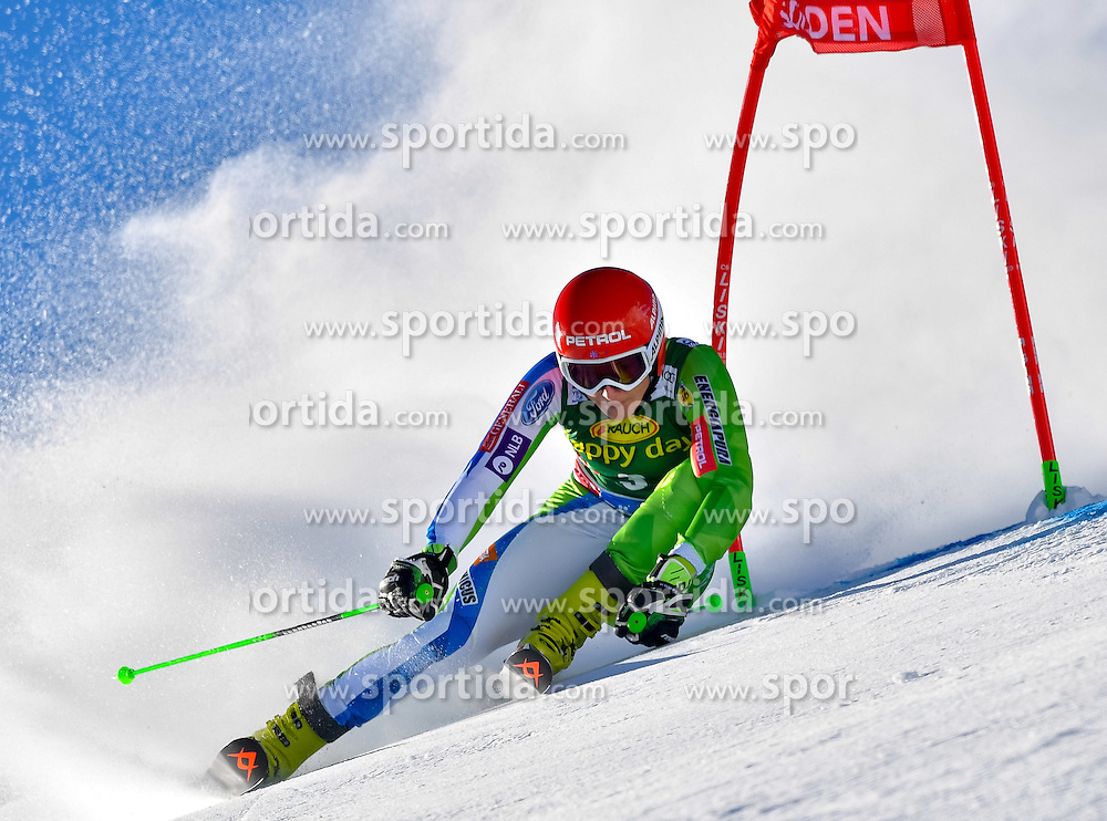 22.10.2016, Rettenbachferner, Soelden, AUT, FIS Weltcup Ski Alpin, Soelden, Riesenslalom, Damen, 1. Durchgang, im Bild Ana Drev (SLO) // Ana Drev of Slovenia in action during 1st run of ladies Giant Slalom of the FIS Ski Alpine Worldcup opening at the Rettenbachferner in Soelden, Austria on 2016/10/22. EXPA Pictures &copy; 2016, PhotoCredit: EXPA/ Nisse Schmid<br /> <br /> *****ATTENTION - OUT of SWE*****