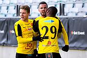 G&Ouml;TEBORG SVERIGE - 2017-11-11: Mj&auml;llby AIF Granit Stagova jublar efter att ha gjort 0-1 till Mj&auml;llby under kvalmatchen till Superettan mellan &Ouml;rgryte IS och Mj&auml;llby AIF p&aring; Gamla Ullevi den 11 november i G&ouml;teborg, Sverige.<br /> Foto: Jonas Gustafsson/Ombrello<br /> ***BETALBILD***