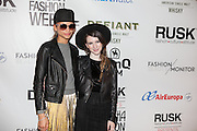 Fashion designer Gabrielle Arruda (r) and guest at Nolcha Fashion Week New York Fall-Winter 2014. Nolcha Fashion Week New York is a leading award winning event, held during New York Fashion Week, for independent fashion designers to showcase their collections to a global audience of press, retailers, stylists and industry influencers. Over the past six years Nolcha Fashion Week: New York has established itself as a platform of discovery promoting innovative fashion designers through runway shows and exhibition. Nolcha Fashion Week: New York has built an acclaimed reputation as a hot incubator of new fashion design talent and is officially listed by New York City Economic Development Corporation; offering a range of cost effective options to increase designers recognition and develop their business. (Photo: www.JeffreyHolmes.com)