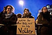 Frankfurt am Main | 02 Feb 2015<br /> <br /> Am Montag (02.02.2015) demonstrierten in Frankfurt an der Hauptwache etwa 60 PEGIDA-Anh&auml;nger mit teils extrem rassistischen Reden und Parolen z.B: gegen &quot;Islamisierung&quot;, an den Aktionen gegen die Rechtsextremisten nahmen mehrere tausend Menschen teil.<br /> Hier: Gegendemonstranten mit einem kleinen Transparent mit der Aufschrift 'Wenn ihr das Volk seid, bin ich Volker'.<br /> <br /> &copy;peter-juelich.com<br /> <br /> [No Model Release | No Property Release]