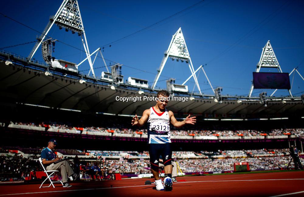 Kyron Duke of Great Britain gestures in Men's Javelin Throw F40 final at Olympic Stadium during the London 2012 Paralympic Games, London, Britain, 07 September 2012.  EPA/KERIM OKTEN