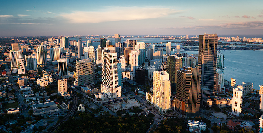 Aerial view of the Brickell Avenue business district skyline in Downtown Miami.