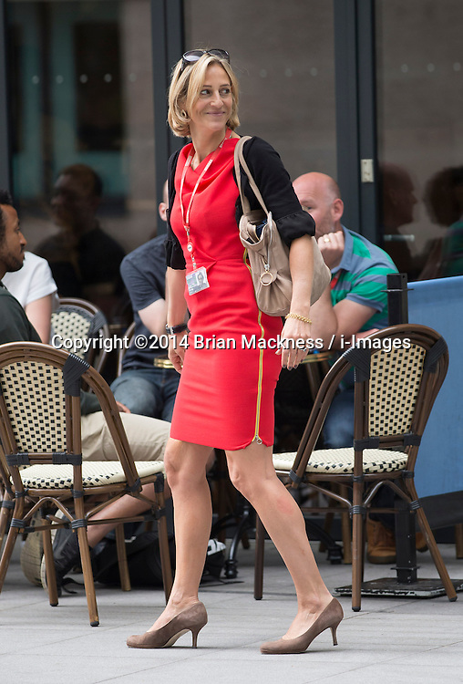 Image licensed to i-Images Picture Agency. 19/06/2014. <br /> London, United Kingdom. Newsnight presenter and journalist Emily Maitlis seen leaving Broadcasting House all smiles today<br /> <br /> Picture by Brian Mackness / i-Images