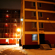 Cabrini Green public housing building sits empty off Oak Street in Chicago. <br /> Photography by Jose More