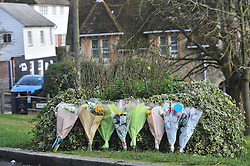 © Licensed to London News Pictures. 03/01/2017<br /> Tributes have been made to Francis O'Sullivan known as Titch. Mr O'Sullivan has sadly passed away at King's College Hospital,London after crashing in a chairty Pram Race on New Years Day in Sutton Valence,Kent.<br /> Flowers have been placed at the scene on Lower Road, Sutton Valence, Kent.<br /> Photo credit :Grant Falvey/LNP