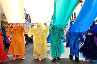 Participants from the Blue Teapot Theatre group in Galway St Patrick's day parade. Photo:Andrew Downes Photography.