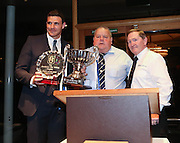 Kyle Letheren with the Andrew De Vries Trophy as Dundee player of the year also in picture DFCSA chairman George Harris and DFCSA committee member John Burke <br /> <br />  - &copy; David Young - www.davidyoungphoto.co.uk - email: davidyoungphoto@gmail.com