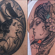 Two women in profile one on shoulder and other with Top hat on her back<br /> <br /> Tattoos are no longer just a male thing, young women are just as likely to get a tattoo as males. <br /> <br /> Body art or tattoos has entered the mainstream it is no longer considered a weird kind of subculture.<br /> <br /> &quot;According to a 2006 Pew survey, 40% of Americans between the ages of 26 and 40 have been tattooed&quot;.