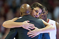 FAYETTEVILLE, AR - MARCH 4:  Head Coach Mike Anderson hugs Dusty Hannahs #3 of the Arkansas Razorbacks during Senior day before a game against the Georgia Bulldogs at Bud Walton Arena on March, 2017 in Fayetteville, Arkansas.  The Razorbacks defeated the Bulldogs 85-67.  (Photo by Wesley Hitt/Getty Images) *** Local Caption *** Mike Anderson; Dusty Hannahs