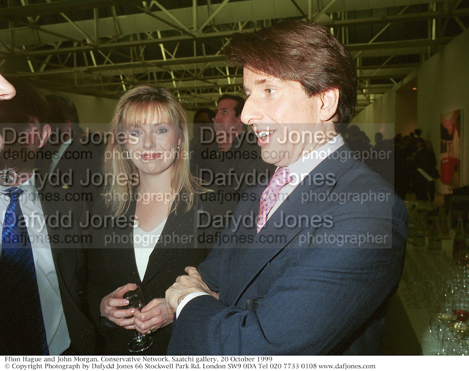Ffion Hague and John Morgan. Conservative Network. Saatchi gallery. 20 October 1999<br />© Copyright Photograph by Dafydd Jones 66 Stockwell Park Rd. London SW9 0DA Tel 020 7733 0108 www.dafjones.com