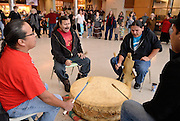 Windsor, Canada. January, 2013. 'Idle No More' Round Dance at University of Windsor CAW Student Centre.