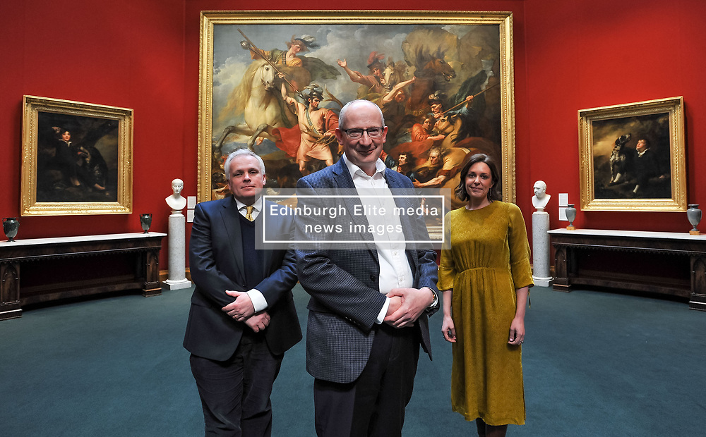 Pictured: Director-General of the National Galleries of Scotland Sir John Leighton (front) with Director of the Scottish National Portrait Gallery Christopher Baker (left) and Clarissa Vallat from Sotheby's with the two newly acquired Raeburn paintings on the far left and right.<br /> <br /> The National Galleries of Scotland have announced the acquisition of two important paintings by famous Scottish artist Sir Henry Raeburn, as part of the Acceptance in Lieu Scheme run by HM Revenue & Customs.<br /> <br /> © Dave Johnston / EEm