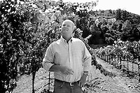 Kirk Venge, of Venge Vineyards, has a new winery that will begin construction later this year, works at his office in Calistoga, on Friday, Aug. 7, 2009. Venge has 12.5 acres of Cabernet grapes on the property. Venge is also a winemaker for 11 clients throughout the Napa Valley.