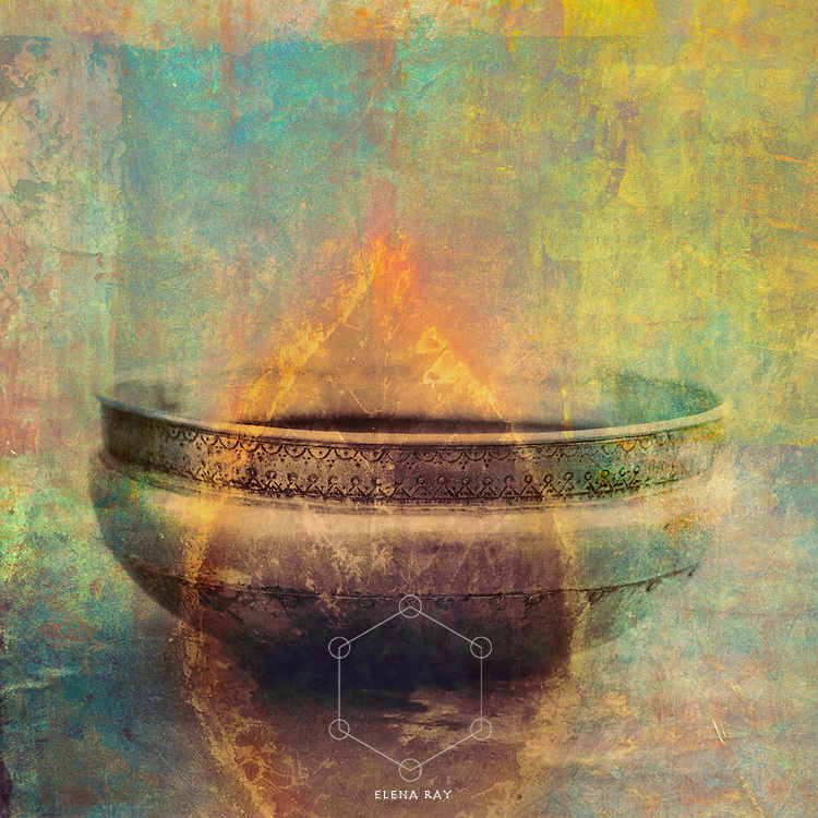 Mixed medium art photograph of a weathered metal bowl from India with painted flame overlay.
