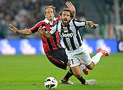© Filippo Alfero<br /> Juventus vs Milan - Serie A 2012 / 2013<br /> Torino, 21/04/2013<br /> sport calcio<br /> Nella foto: Andrea Pirlo e Massimo Ambrosini