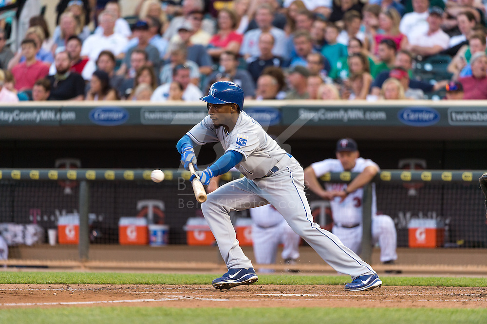 Jarrod Dyson #1 of the Kansas City Royals bunts against the Minnesota Twins on June 27, 2013 at Target Field in Minneapolis, Minnesota.  The Twins defeated the Royals 3 to 1.  Photo by Ben Krause