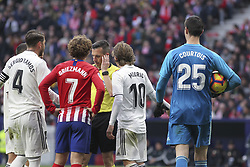 February 9, 2019 - Madrid, Madrid, Spain - Griezman of Atletico de Madrid protest to referee during La Liga Spanish championship, , football match between Atletico de Madrid and Real Madrid, February 09th, in Wanda Metropolitano Stadium in Madrid, Spain. during La Liga Spanish championship, , football match between Atletico de Madrid and Real Madrid, February 09th, in Wanda Metropolitano Stadium in Madrid, Spain. (Credit Image: © AFP7 via ZUMA Wire)