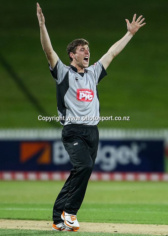 South Island's Matt Henry appeals for an LBW during the Island of Origin T20 cricket game - North v South, 31 October 2014 played at Seddon Park, Hamilton, New Zealand on Friday 31 October 2014.  Photo: Bruce Lim / www.photosport.co.nz