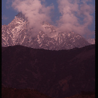 Photo by David Stephenson.  View of Himalaya Mountains from Dharamsala, India, in 11/91.