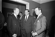 24/03/1966<br /> 03/24/1966<br /> 24 March 1966<br /> Reception at the Shelbourne Hotel for speakers at the Symposium on &quot;Shock&quot; sponsored by Pharmacia International held at UCD. Image shows (l-r): Professor P. FitzGerald, M.D., M.Ch., M.Sc., F.R.C.S.I. who chaired the event; Mr P.E. Gravel, Managing Director, Goodbody Ltd. and Mr Don Douglas, Representative, Pharmacia International.